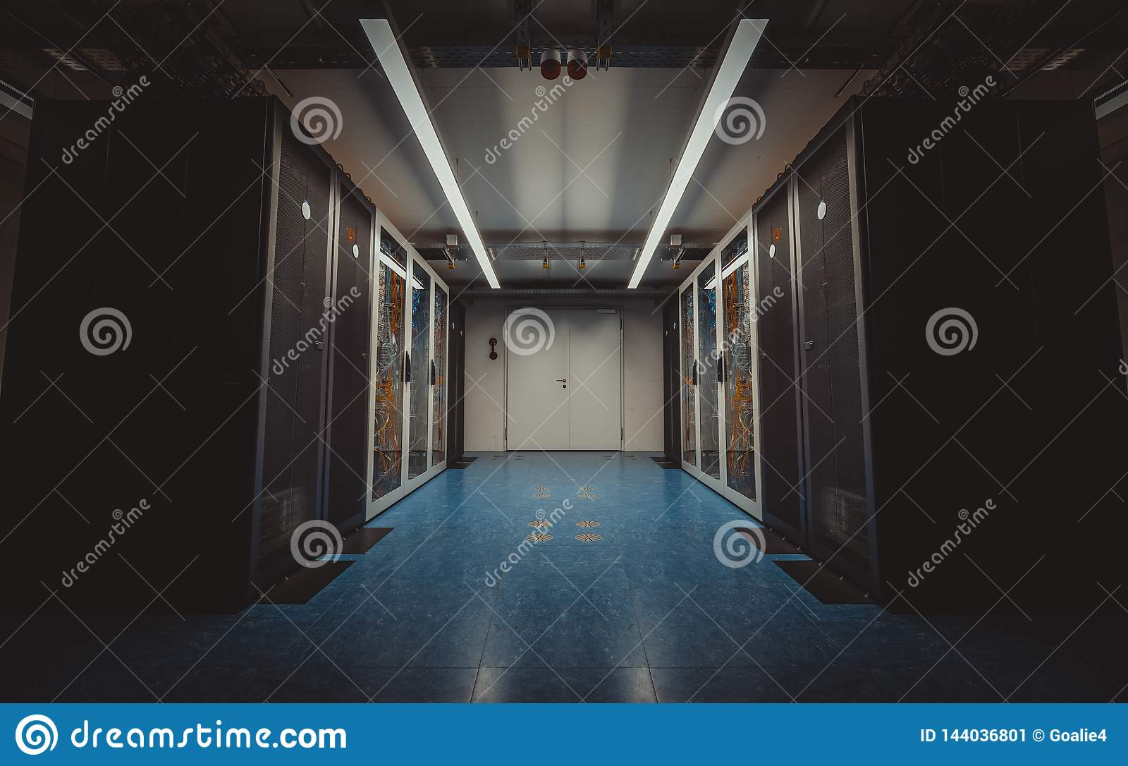 Wide angle view of a modern server room