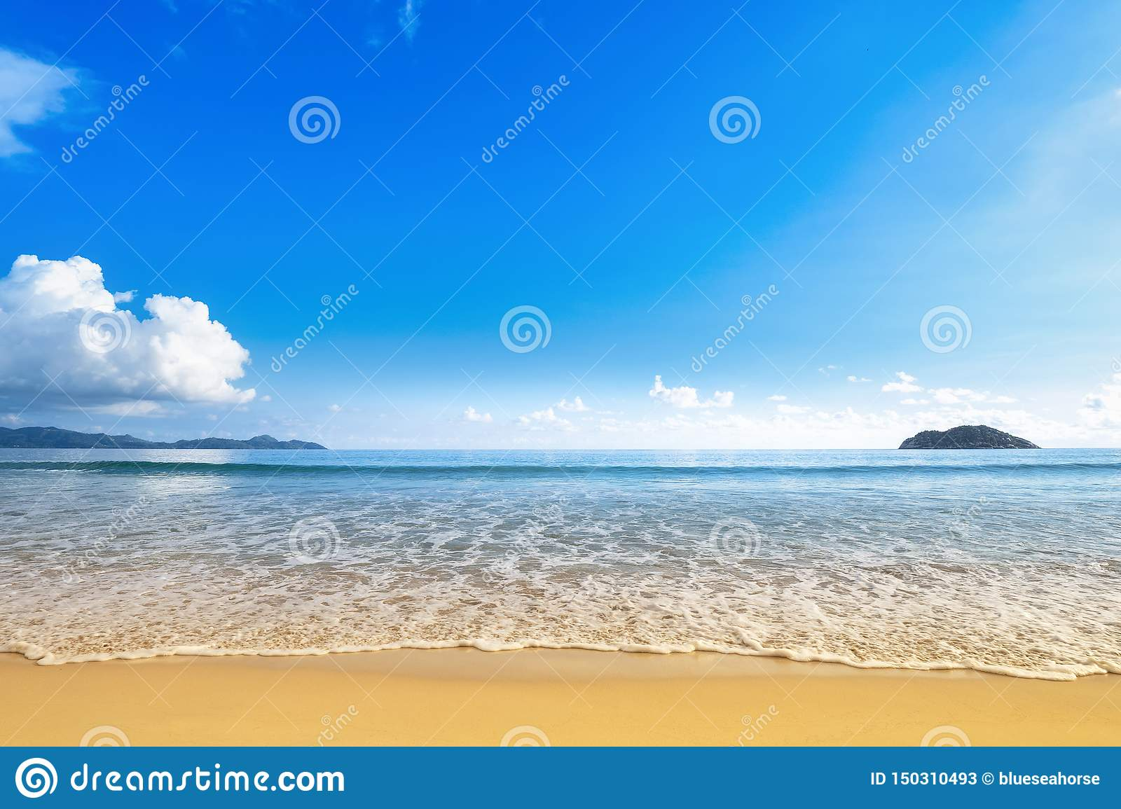 Wide beach with golden sand shore and blue sky