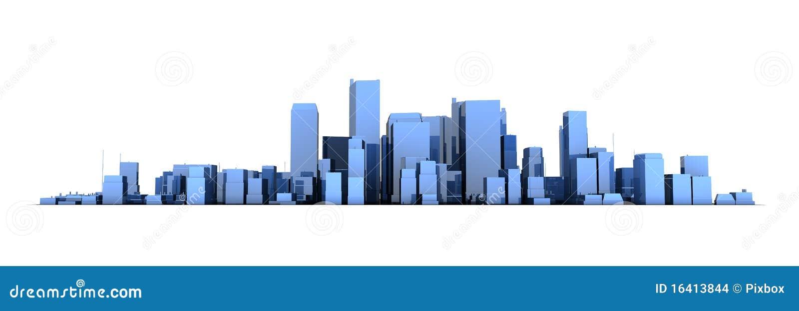 wide cityscape model 3d shiny blue city 16413844