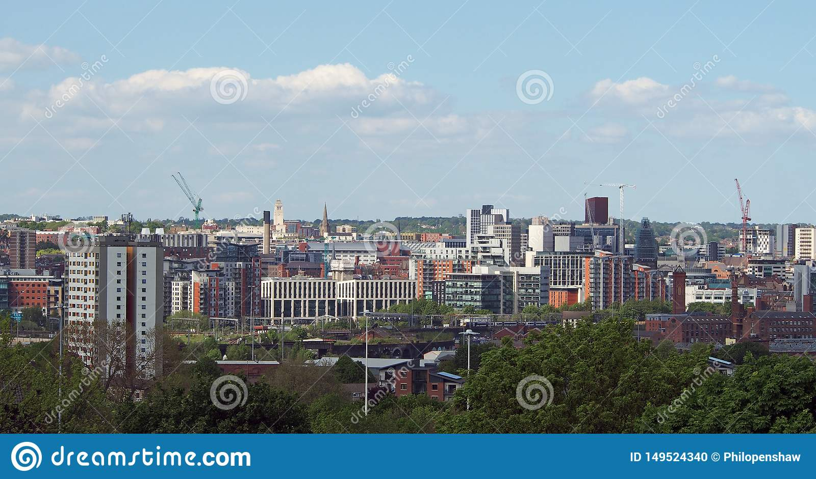A Wide Cityscape View Of Leeds City Centre Taken From ...