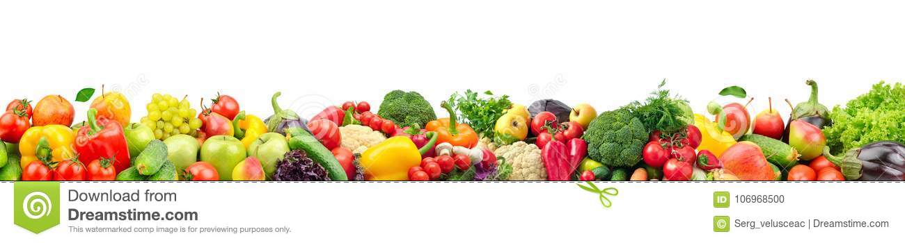 Wide collage of fresh fruits and vegetables for layout isolated