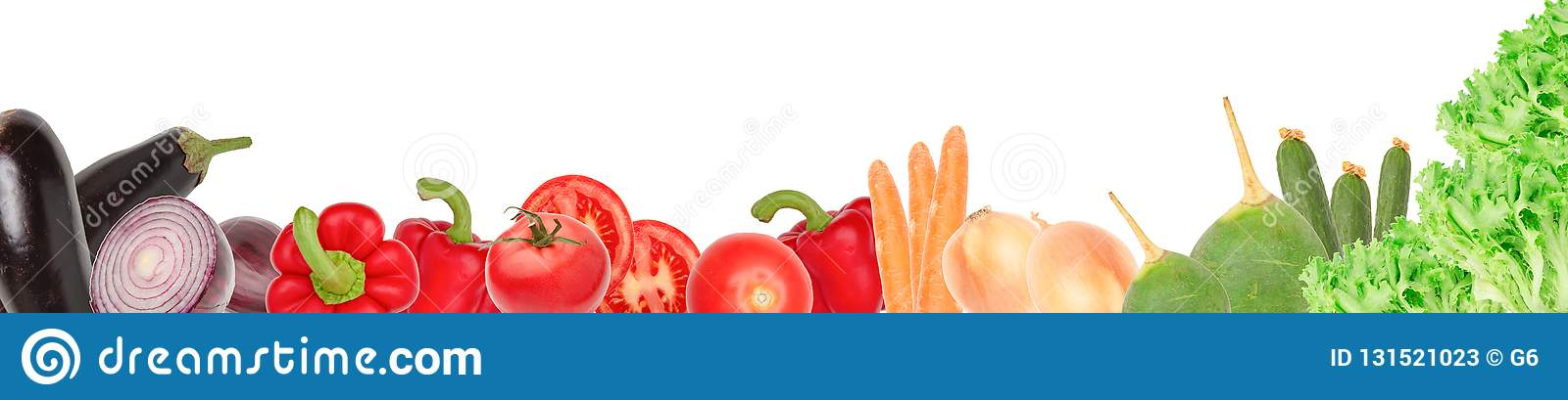 Wide collage of fresh vegetables for layout isolated on white background. Copy space