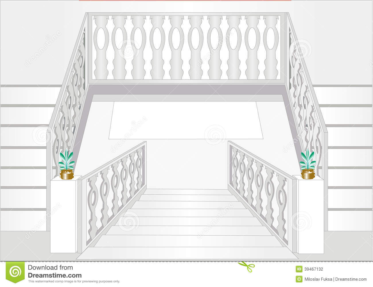 Wide, double staircase of a large house, with extravagant, metal ...