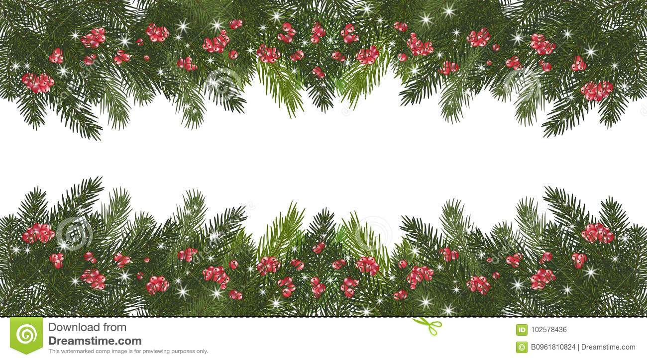 Wide Garland Of Christmas Trees, Isolated. Branches Of Christmas ...