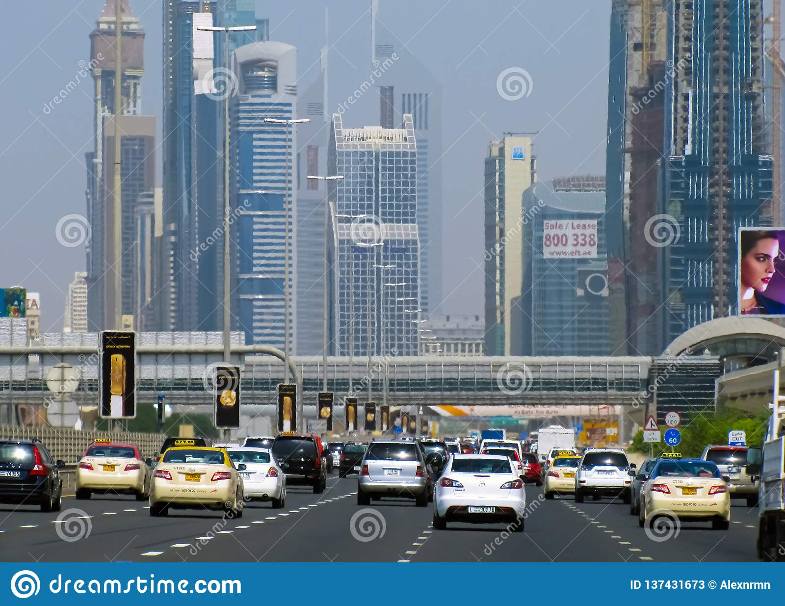 Wide highway to the city of Dubai.