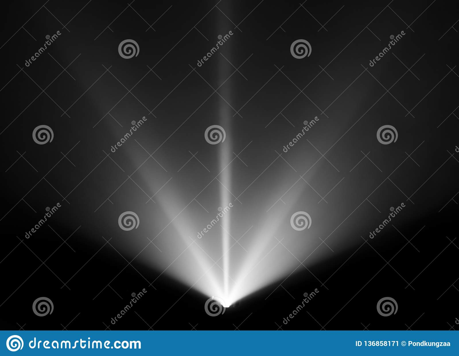 Wide lens projector with black and white light beam for movie and cinema at night . smoke texture spotlight . screening for