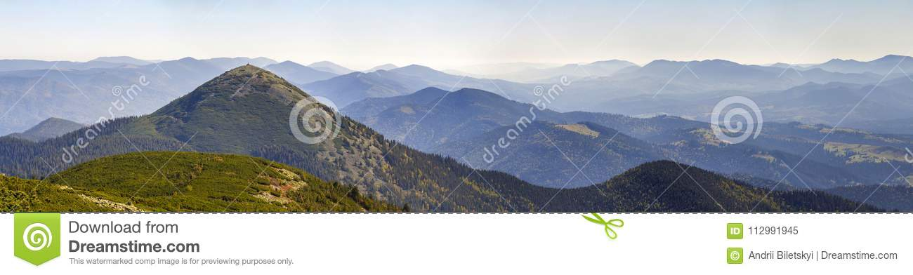 Wide panorama of green mountain hills in sunny clear weather. Carpathian mountains landscape in summer. View of rocky peaks covere