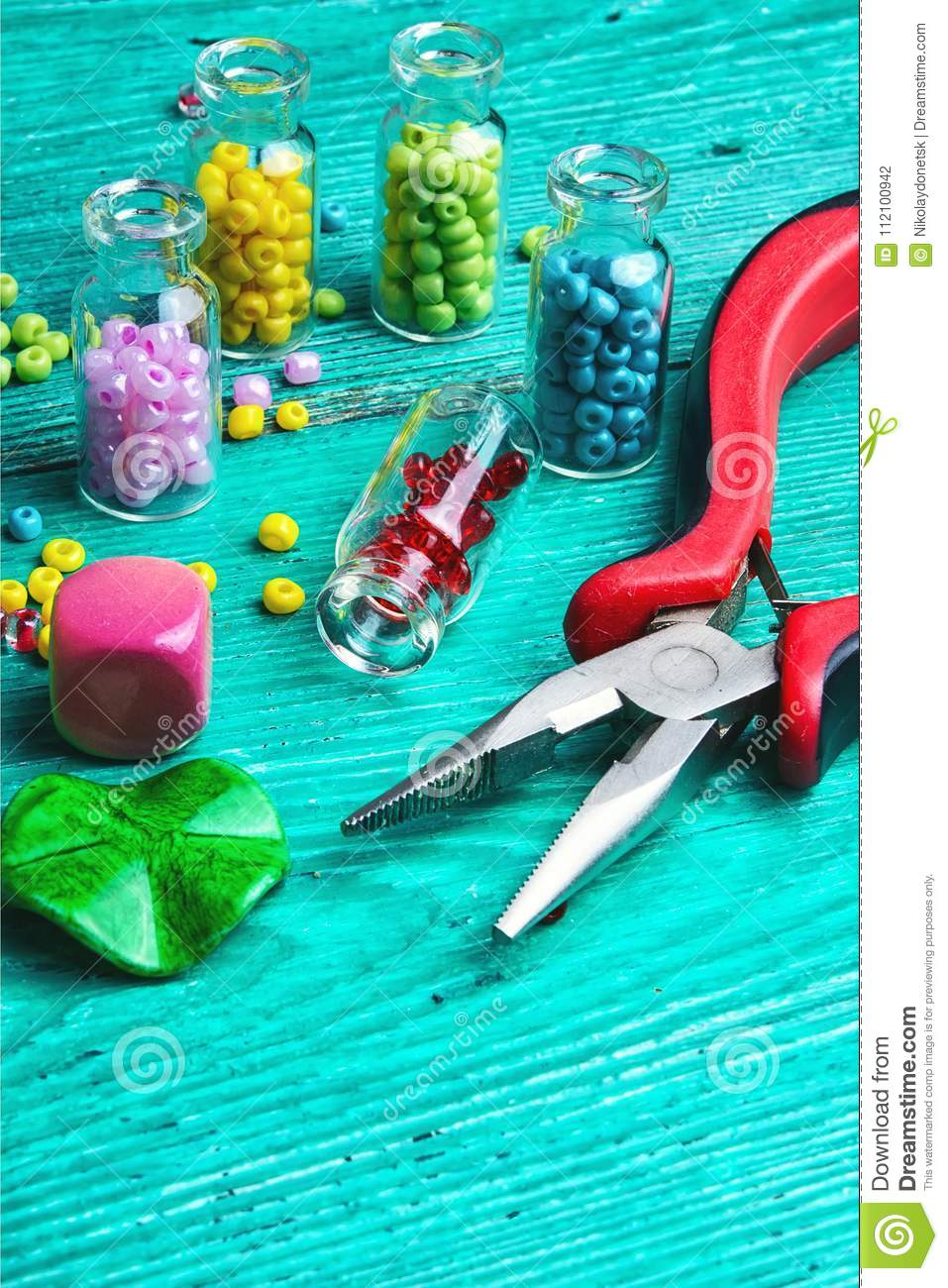 Hobby crafts of beads stock photo  Image of design, homemade