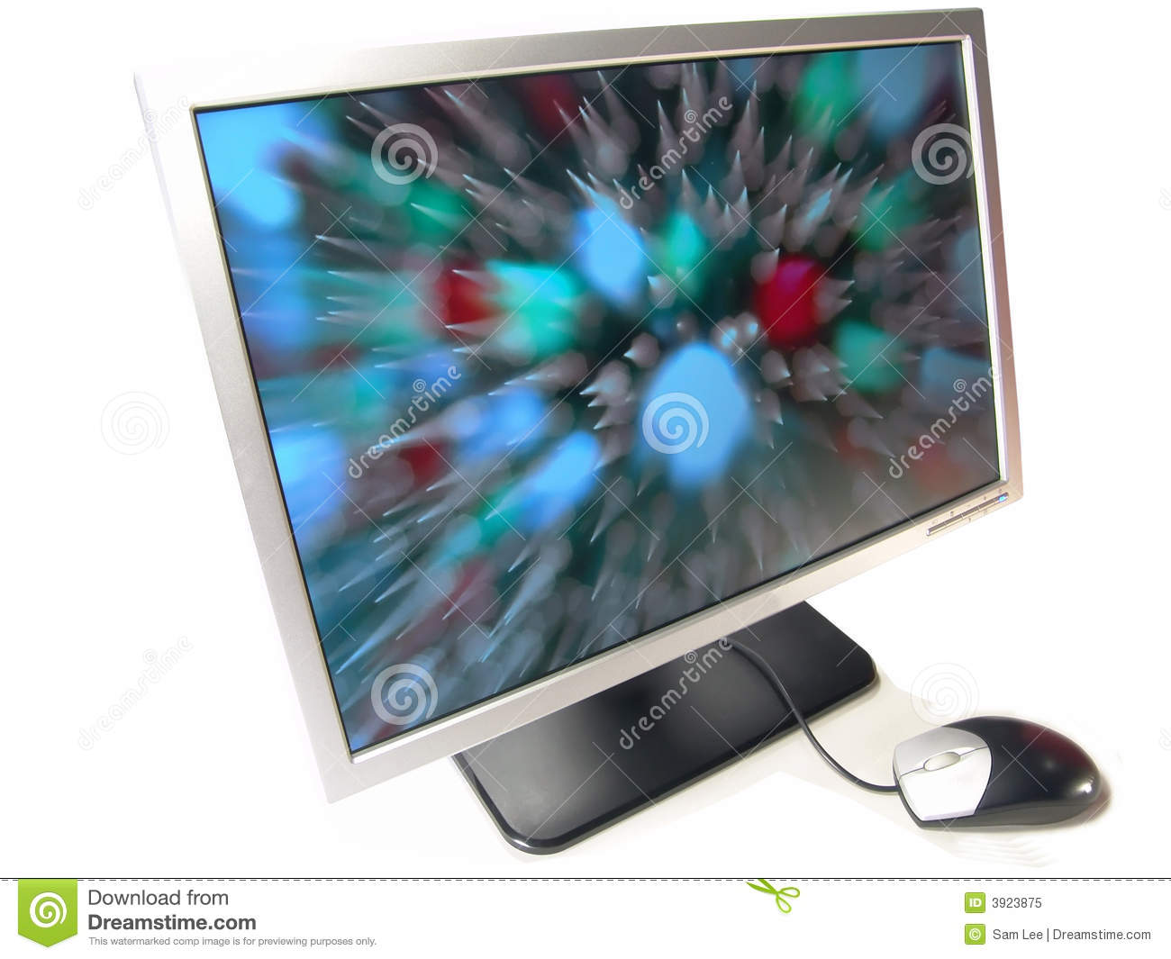 Wide Screen LCD Computer Monitor And Mouse Stock Image ...