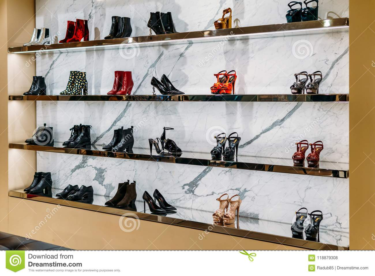 a0aabce3a287 Wide Selection Of Women Shoes In Shopping Mall Store Inside ...