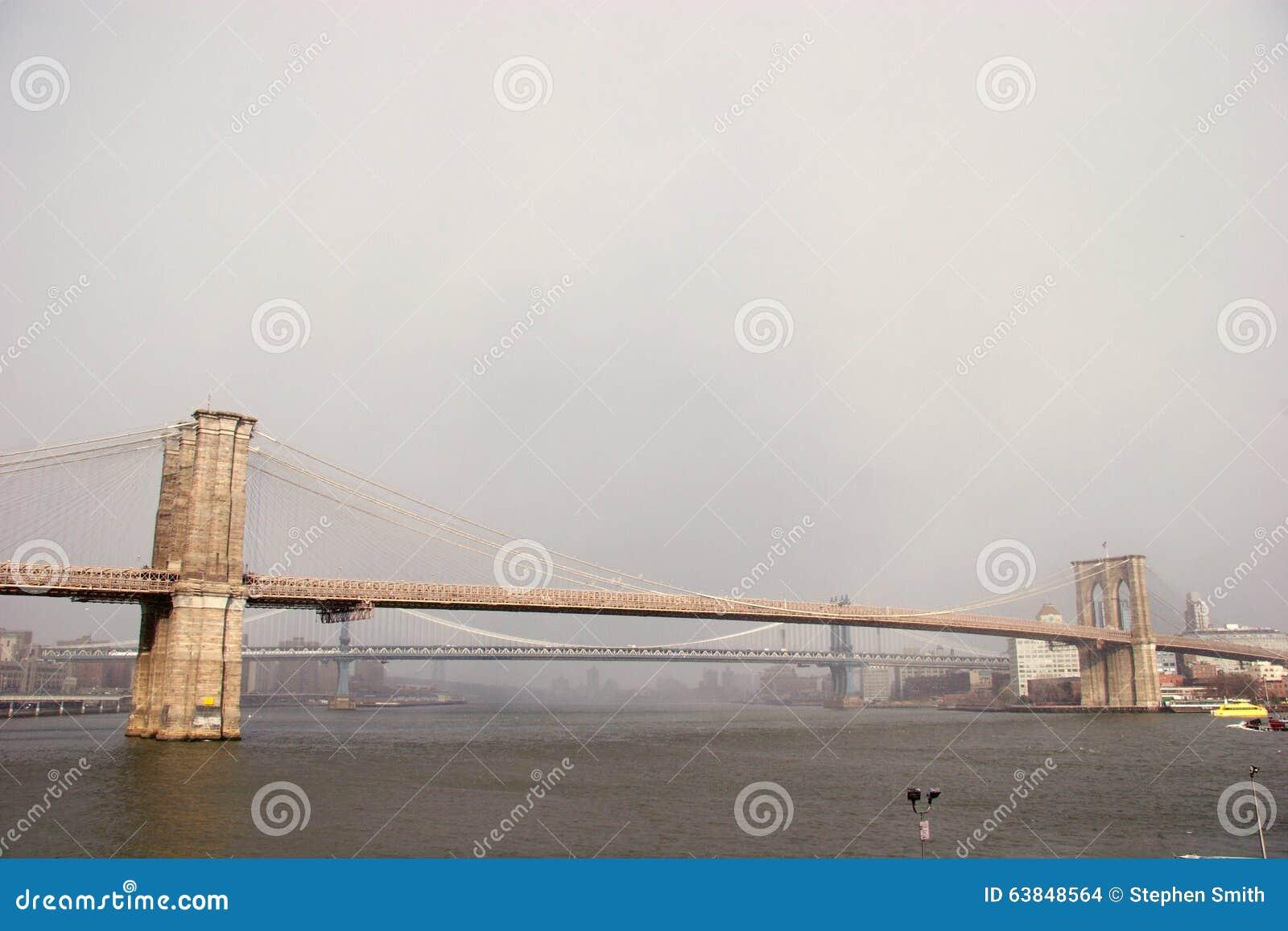 Wide view of Brooklyn Bridge with Manhattan Bridge behind