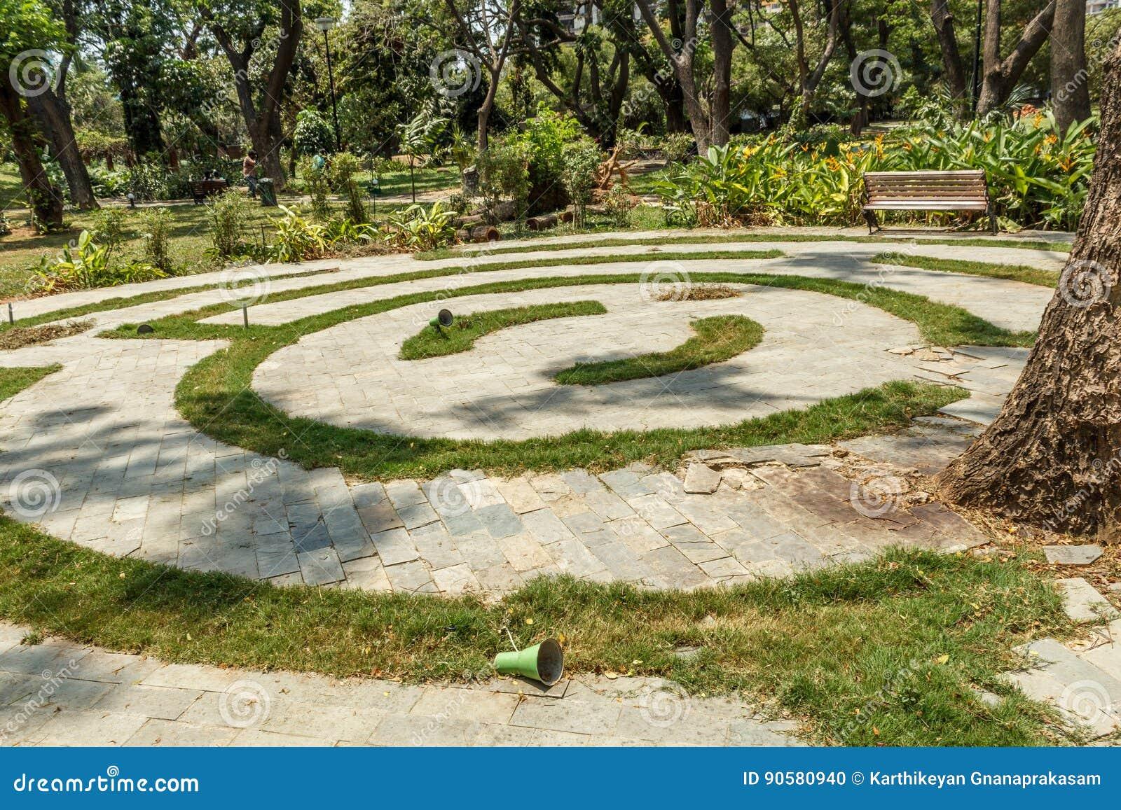 wide view of circular concrete steps in a green garden, chennai