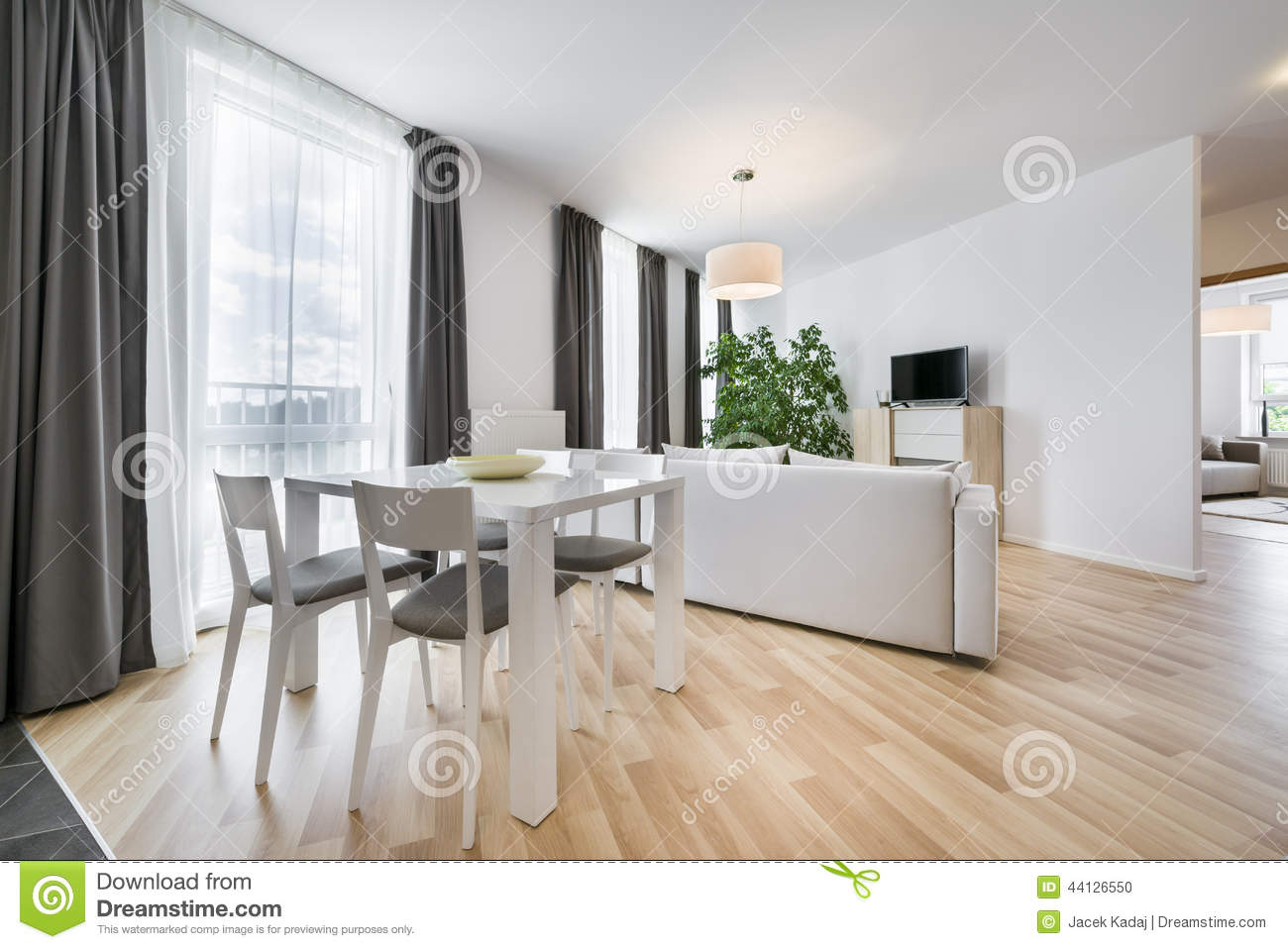 Wide View Of Living Room In Scandinavian Style Stock Photo