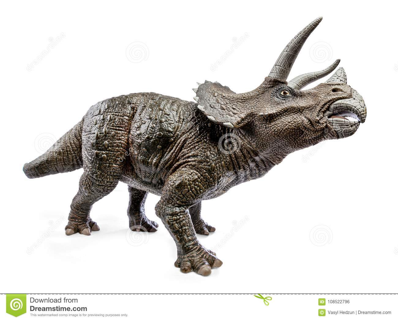 wide view of triceratops dinosaurs toy stock photo image of image