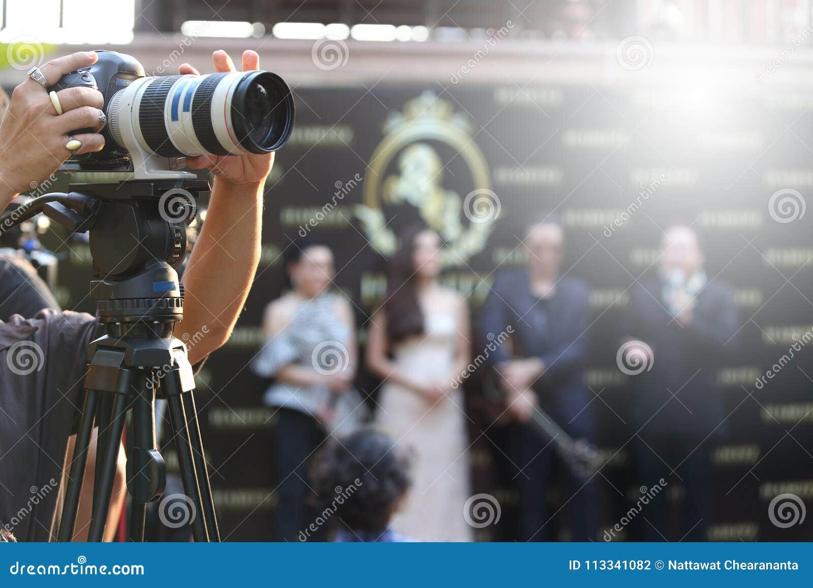 Wideo DSLR kamery ogólnospołecznej sieci żywy nagranie na wywiadów ses