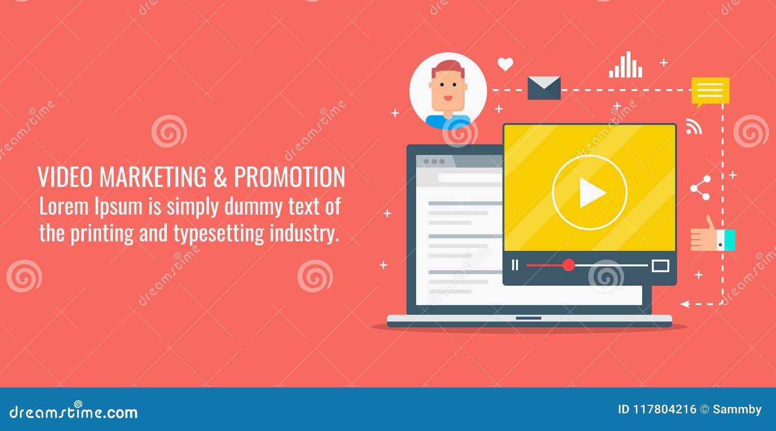 Wideo marketing, online wideo promocja, interneta wideo zawartość, cyfrowy medialny marketingowy pojęcie Płaska projekta wektoru