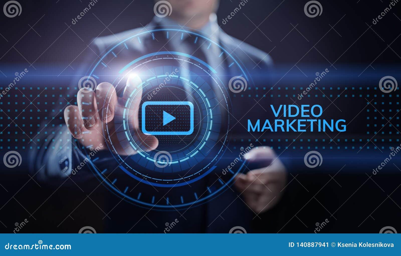 Wideo marketingowy reklama online biznesu interneta pojęcie