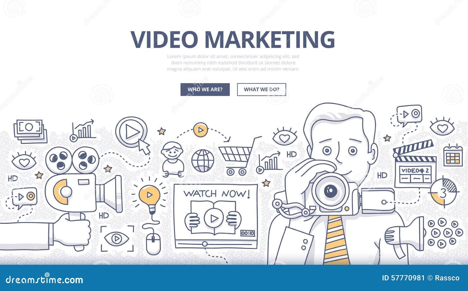 Wideo marketingu Doodle pojęcie