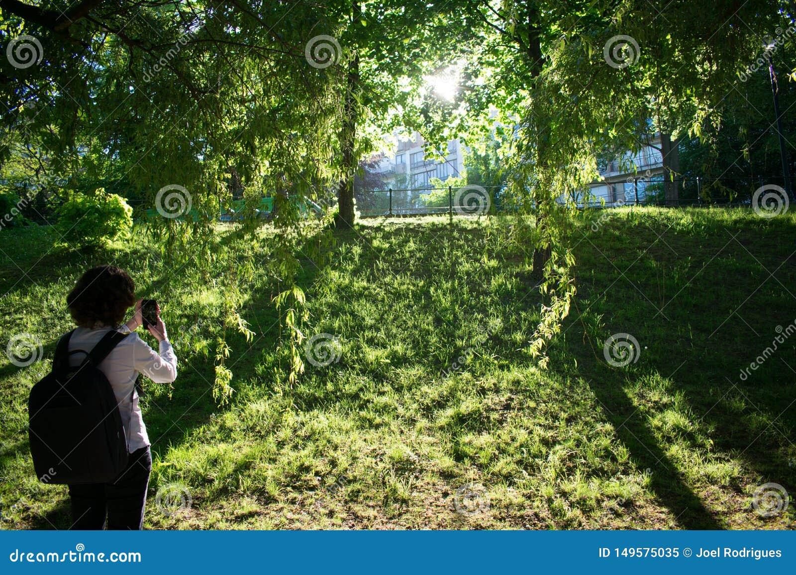 Wideshot de la mujer que toma un snpashot de la puesta del sol en parque