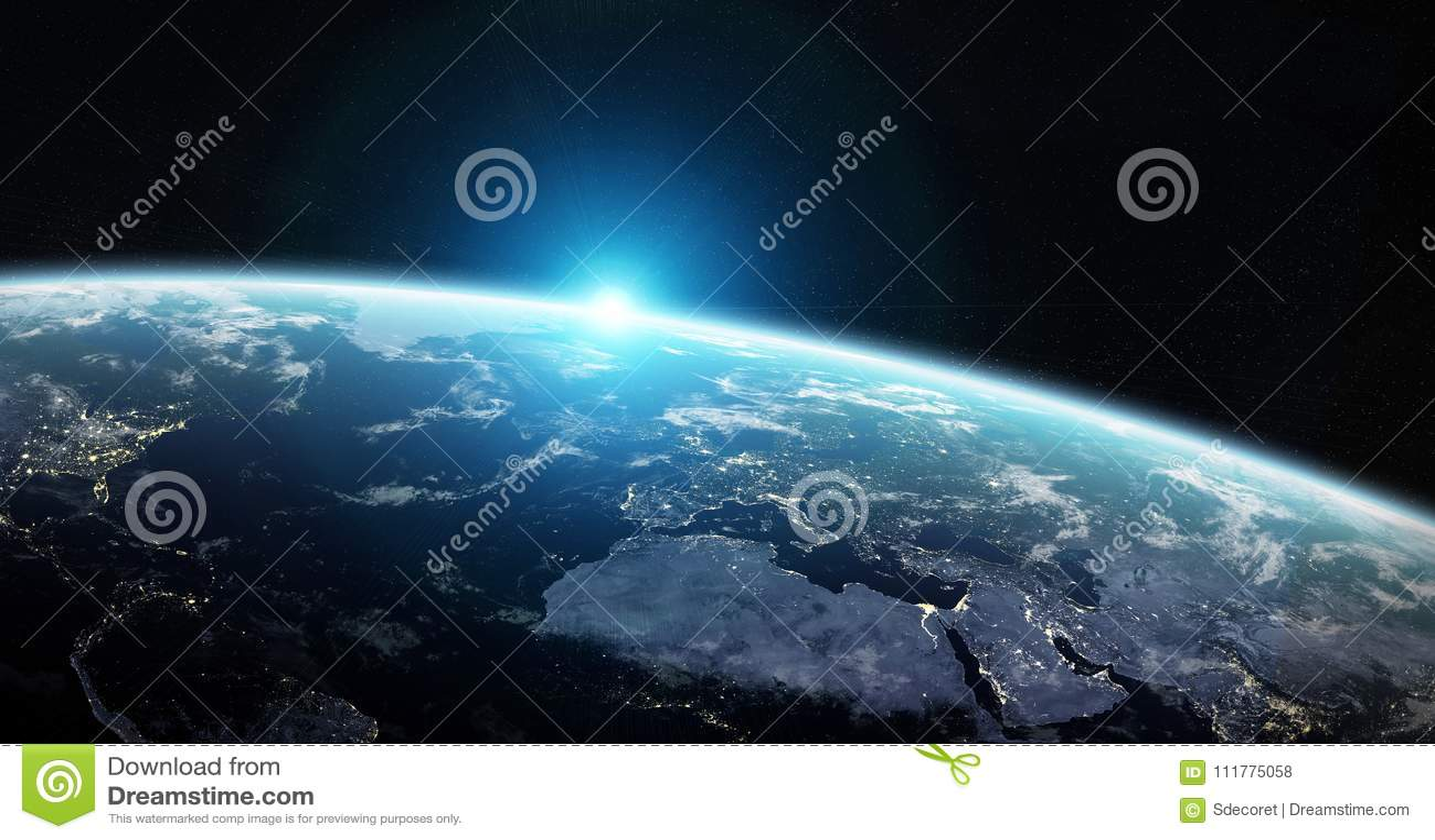 Widok błękitna planety ziemia w astronautycznych 3D renderingu elementach to