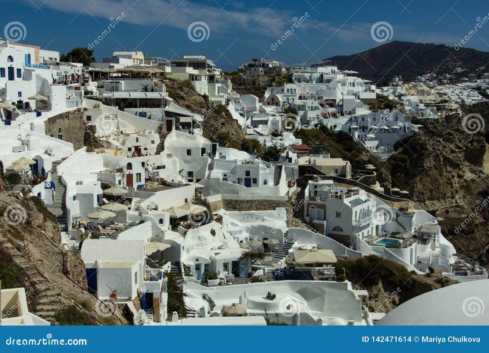 Widok Biali domy Santorini