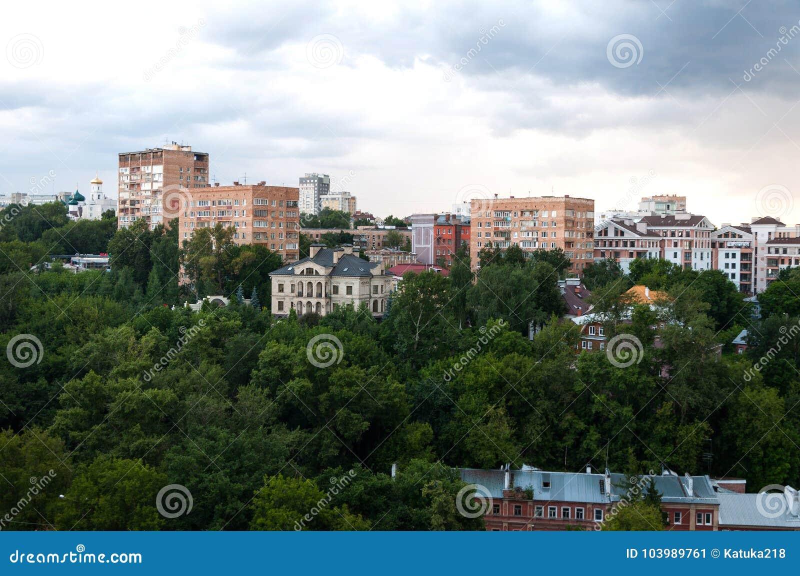 Widok centrum Nizhny Novgorod od Kremlin nizhny novgorod Rosja
