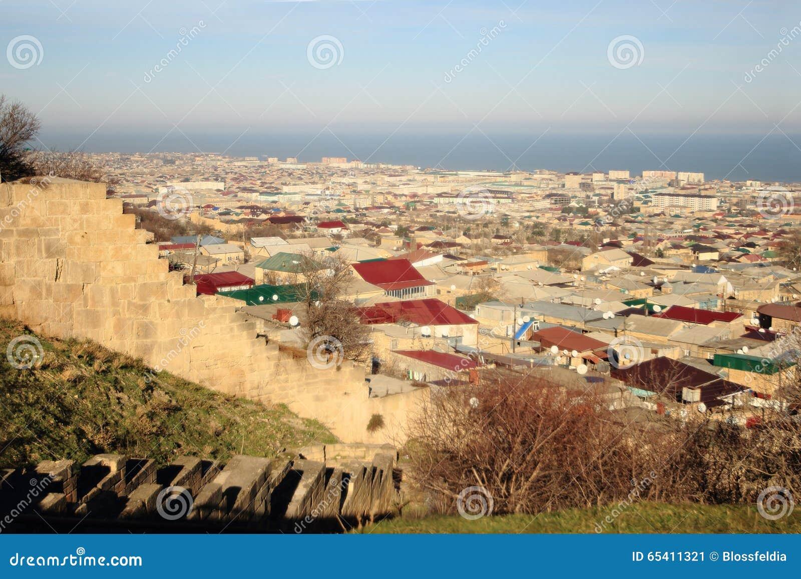 Widok Derbent miasteczko od Naryn-Kala fortecy
