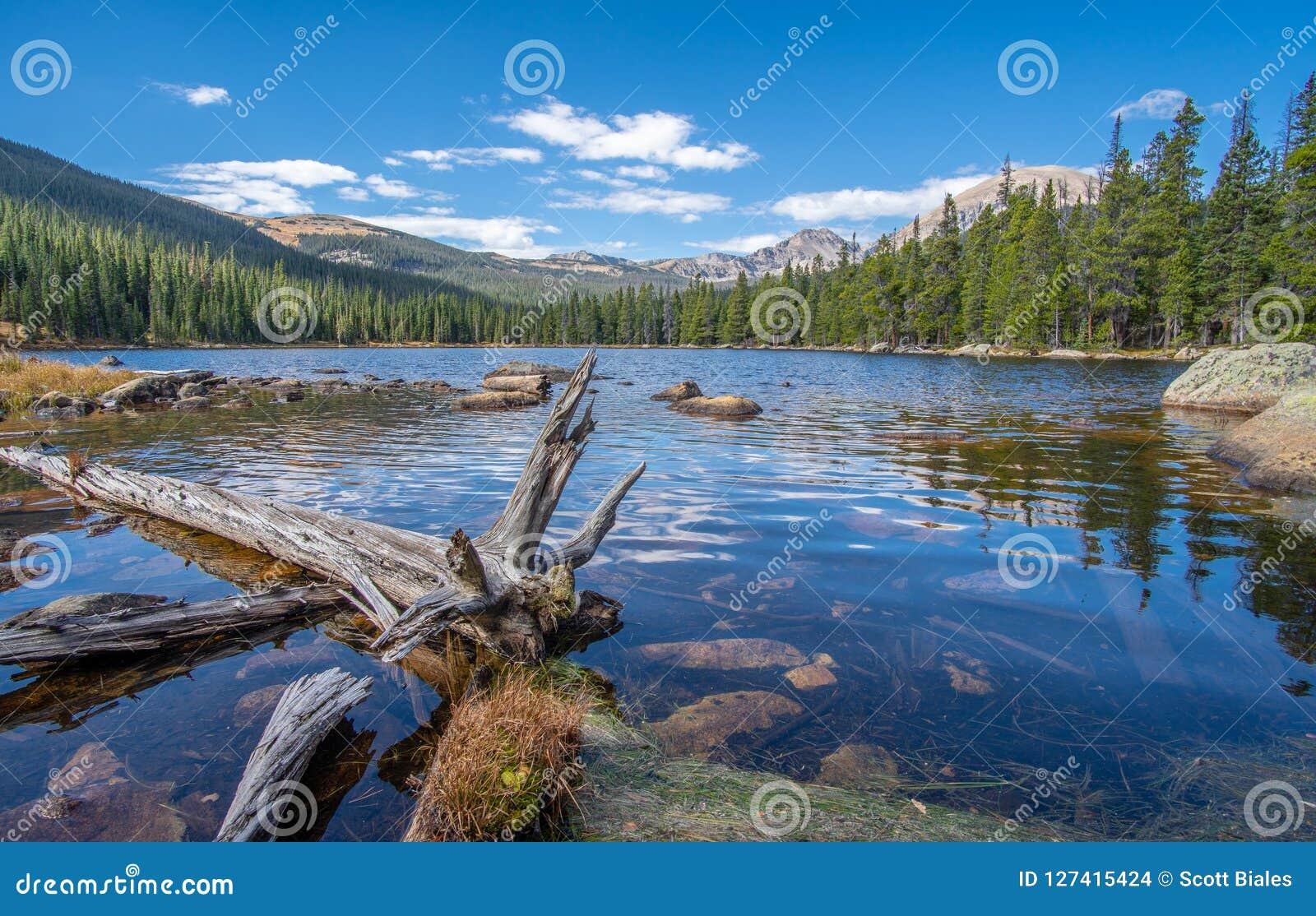 Widok Finch jezioro i Skaliste góry w tle