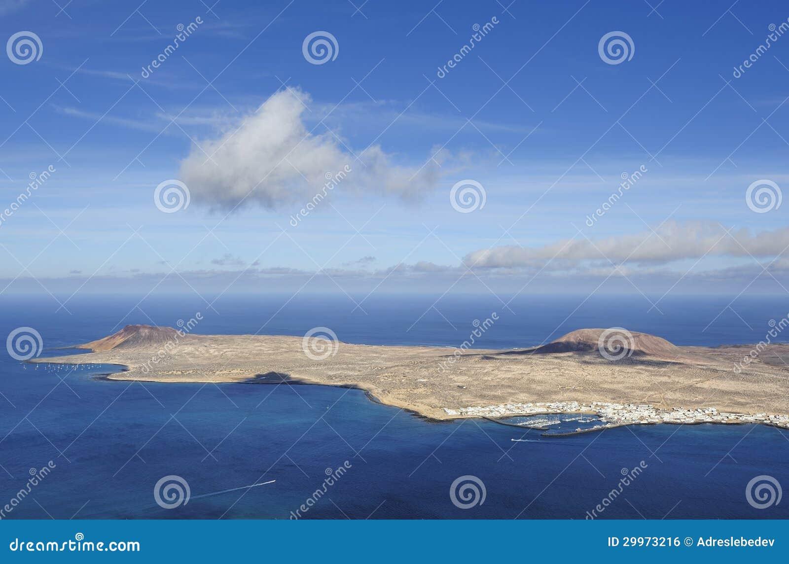 Widok Graciosa wyspa od Mirador Del Rio, Lanzarote wyspa