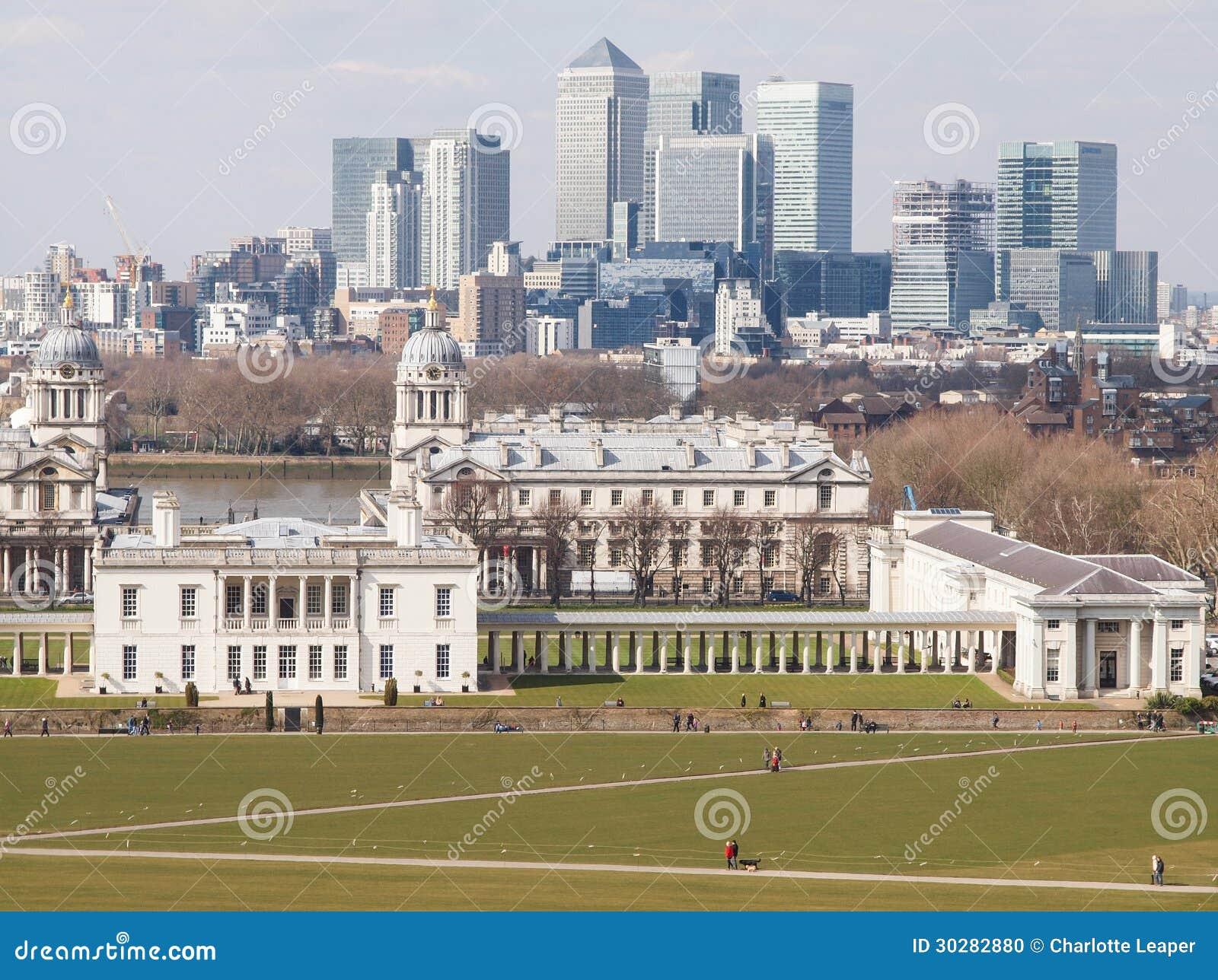 Greenwich Parkowa i Londyńska miasto linia horyzontu