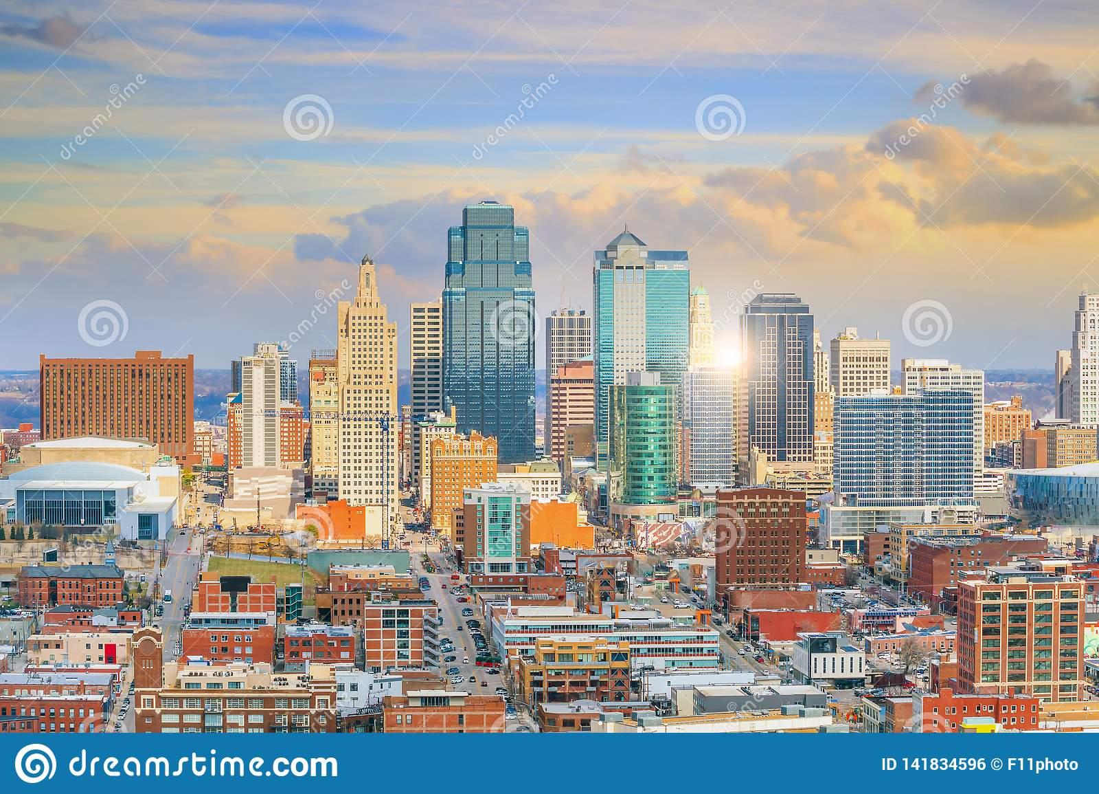 Widok Kansas City linia horyzontu w Missouri