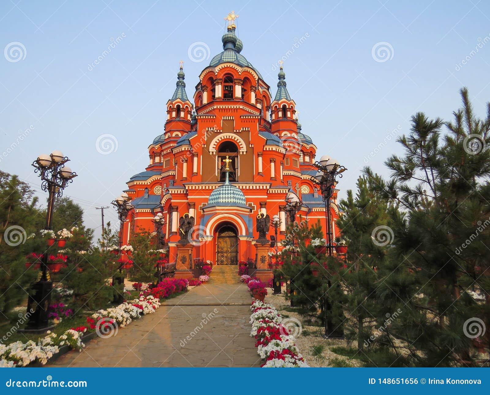 Widok katedra Kazan ikona matka b?g w mie?cie Irkutsk