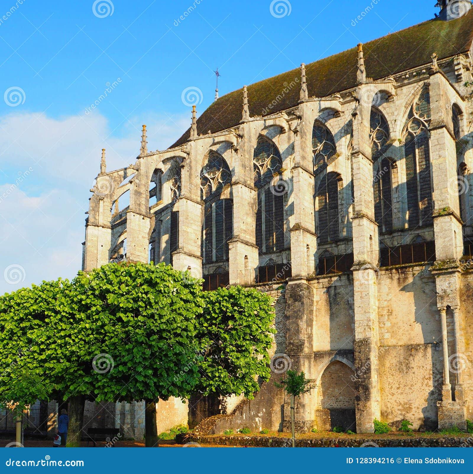 Widok Katedralna Notre-Dame de Chartres ind Chartres w Eure et Loir dziale Loire dolina, Francja