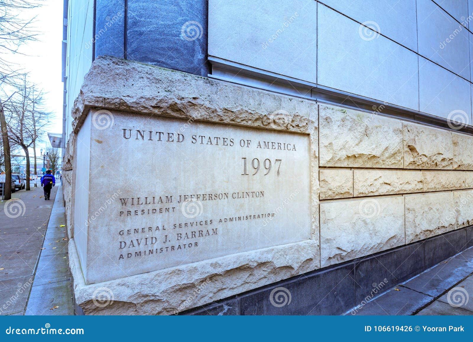 Widok Mark O Hatfield Stany Zjednoczone gmach sądu w śródmieściu Po