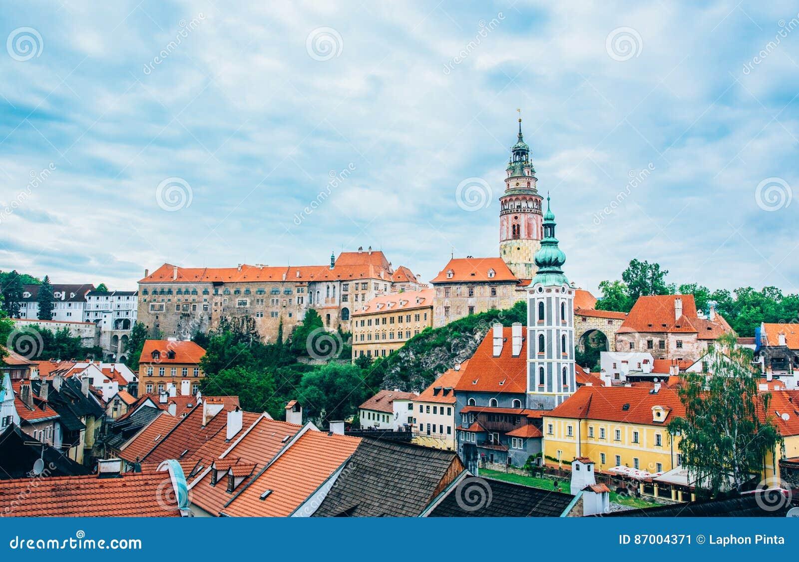 Widok miasteczko w Cesky Kromlov troszkę