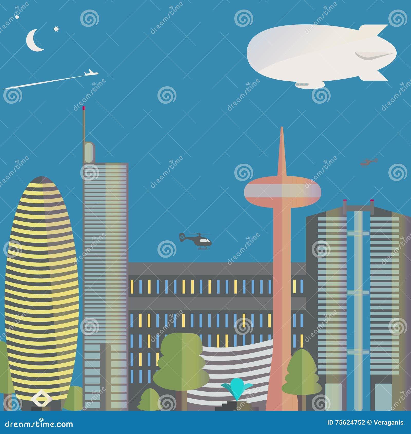 Widok miasto Miasto z drapaczami chmur, helikoptery do miasta