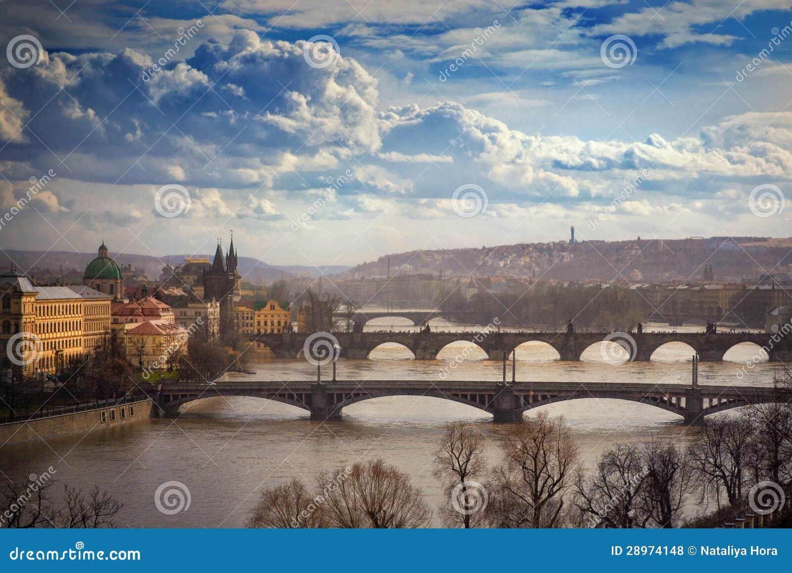 Widok na mostach w Praga, republika czech