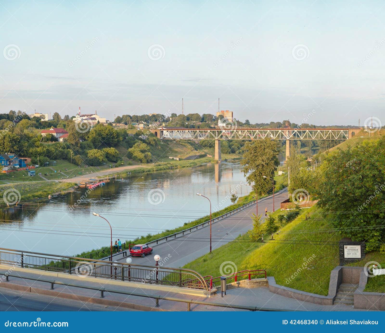 Widok na Neman rzece w Grodno Białoruś