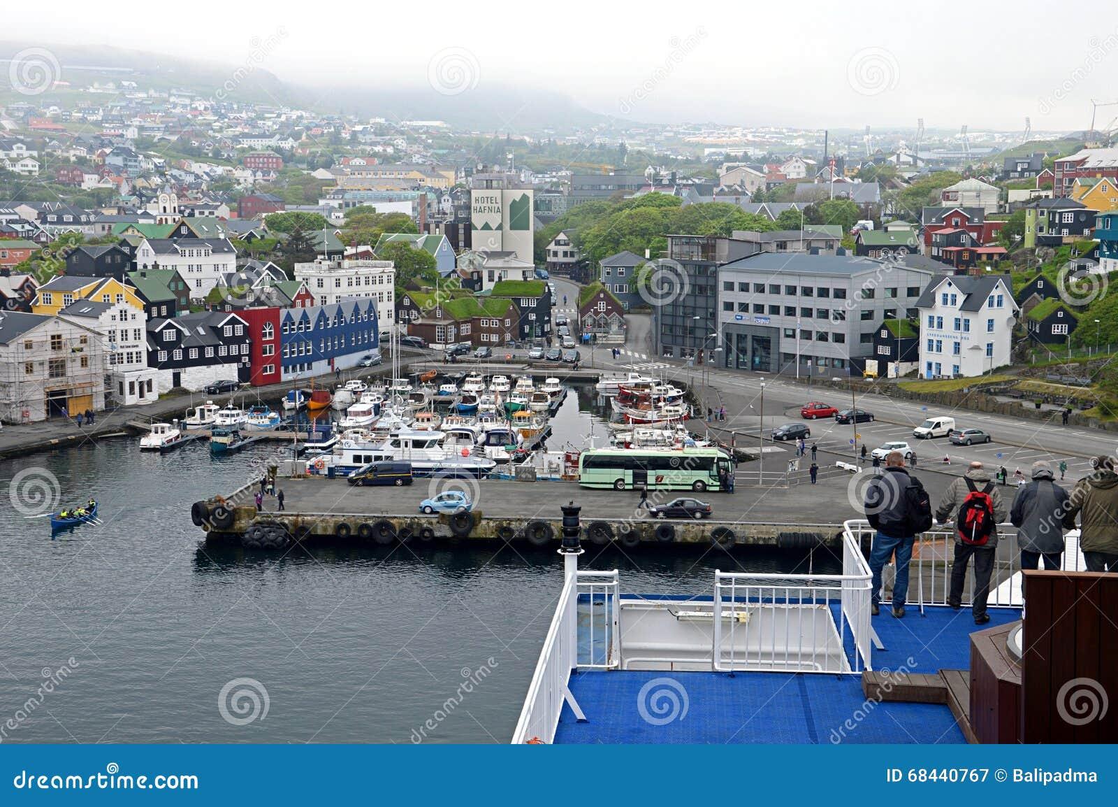 Widok nad Torshavn, Faroe wyspy