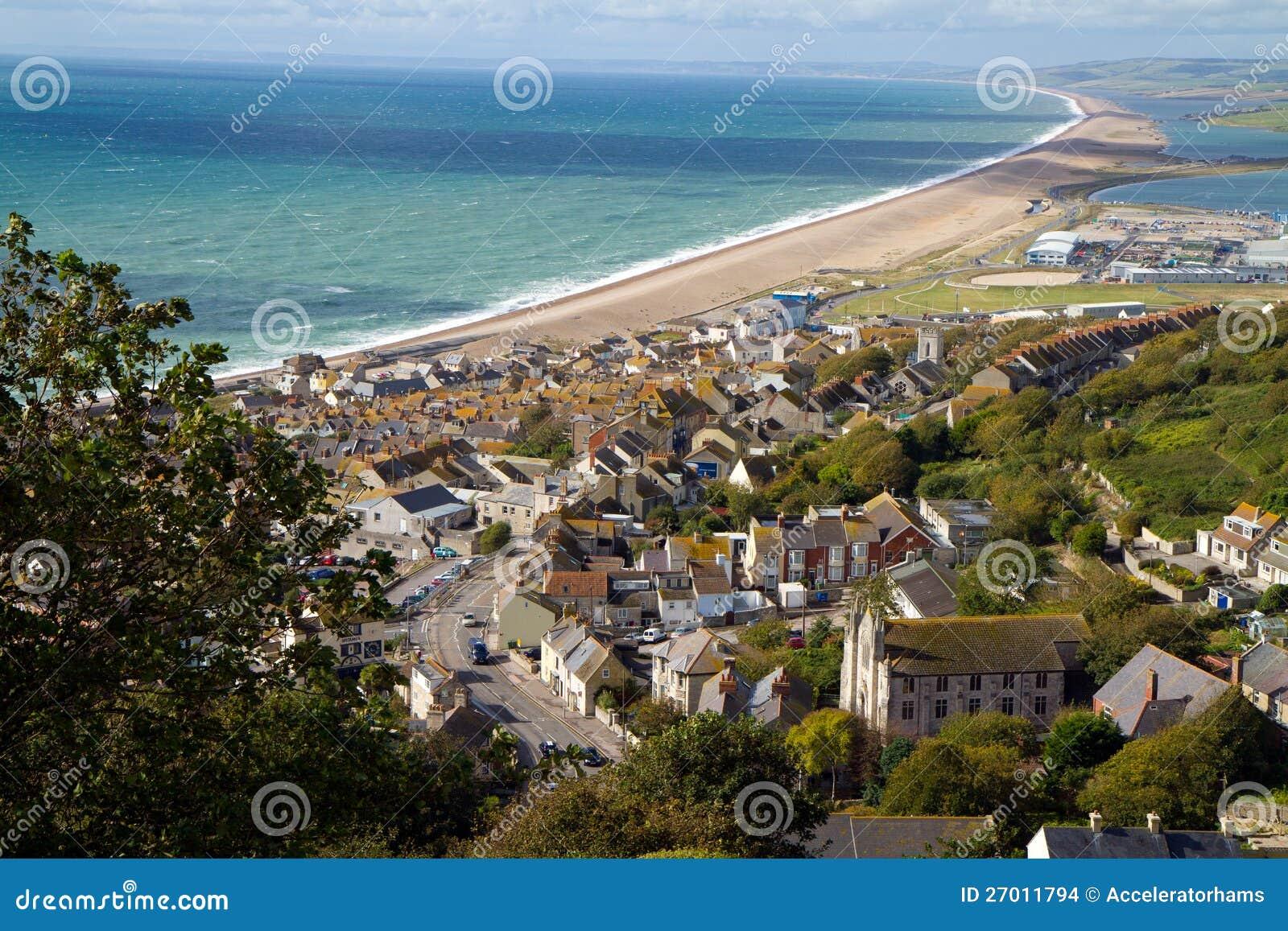 Widok nad Weymouth, Portland i Chesil plażą