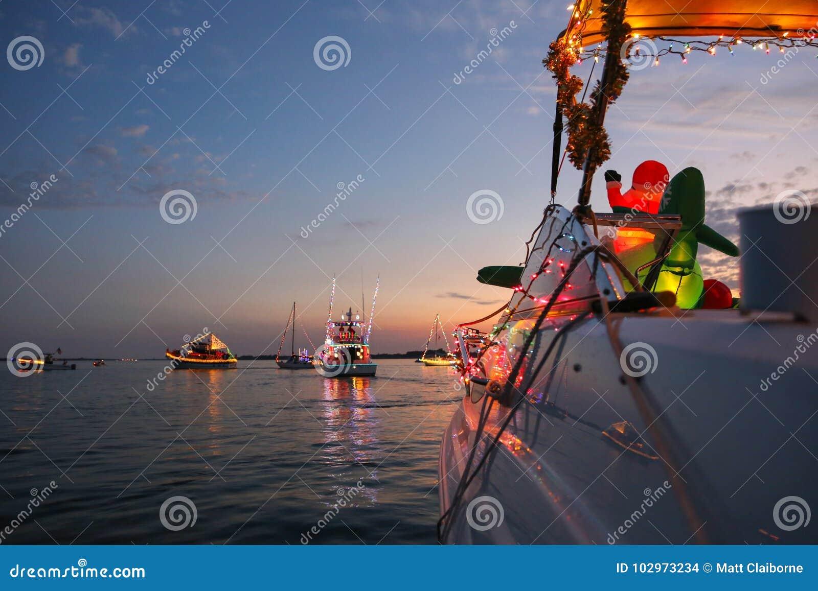 Widok Od Dekorującego Powerboat w Floryda Łódkowatej paradzie