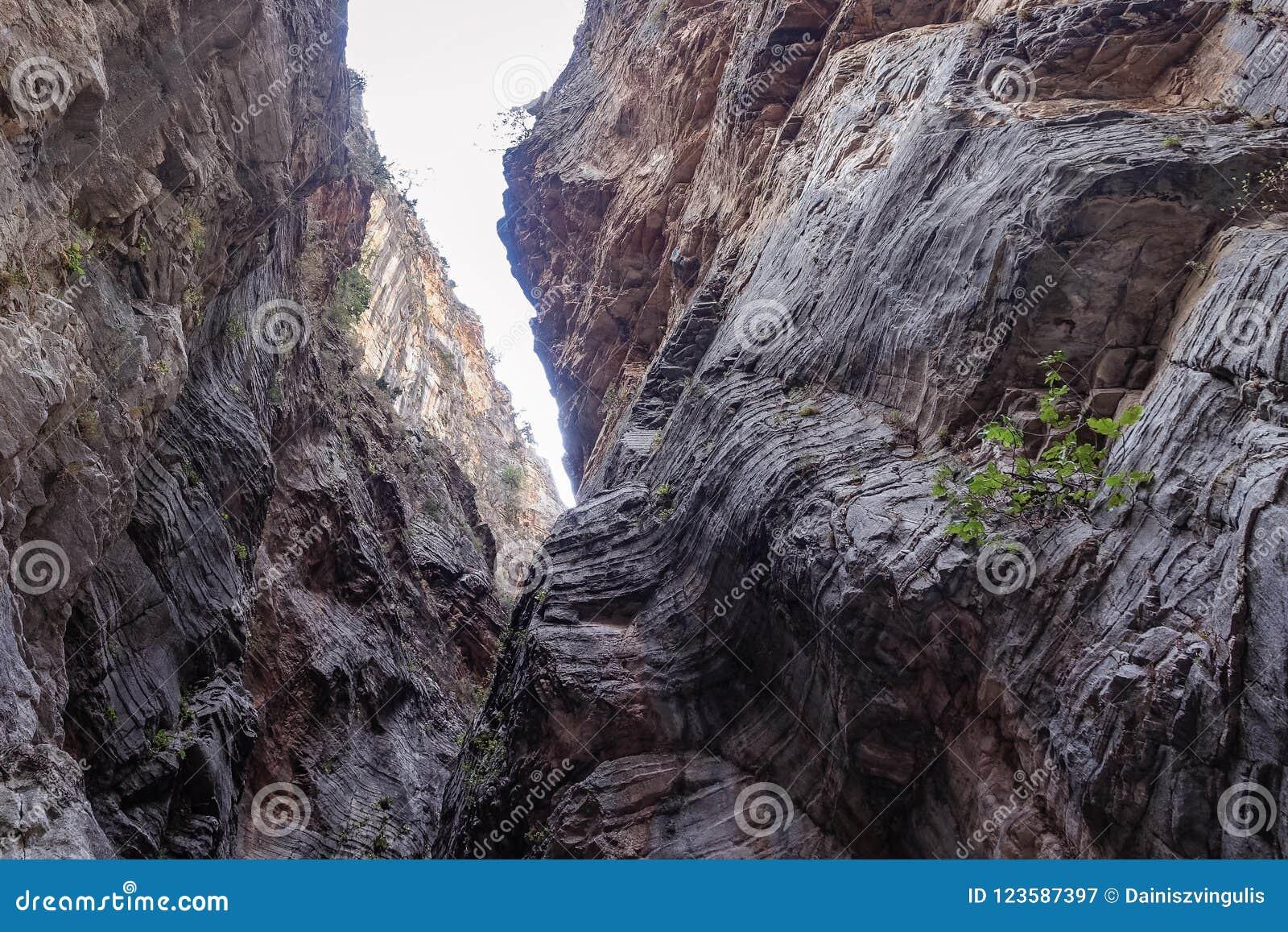 Widok od dna który tworzy ciekawiący warstwy i strukturę halne ściany,