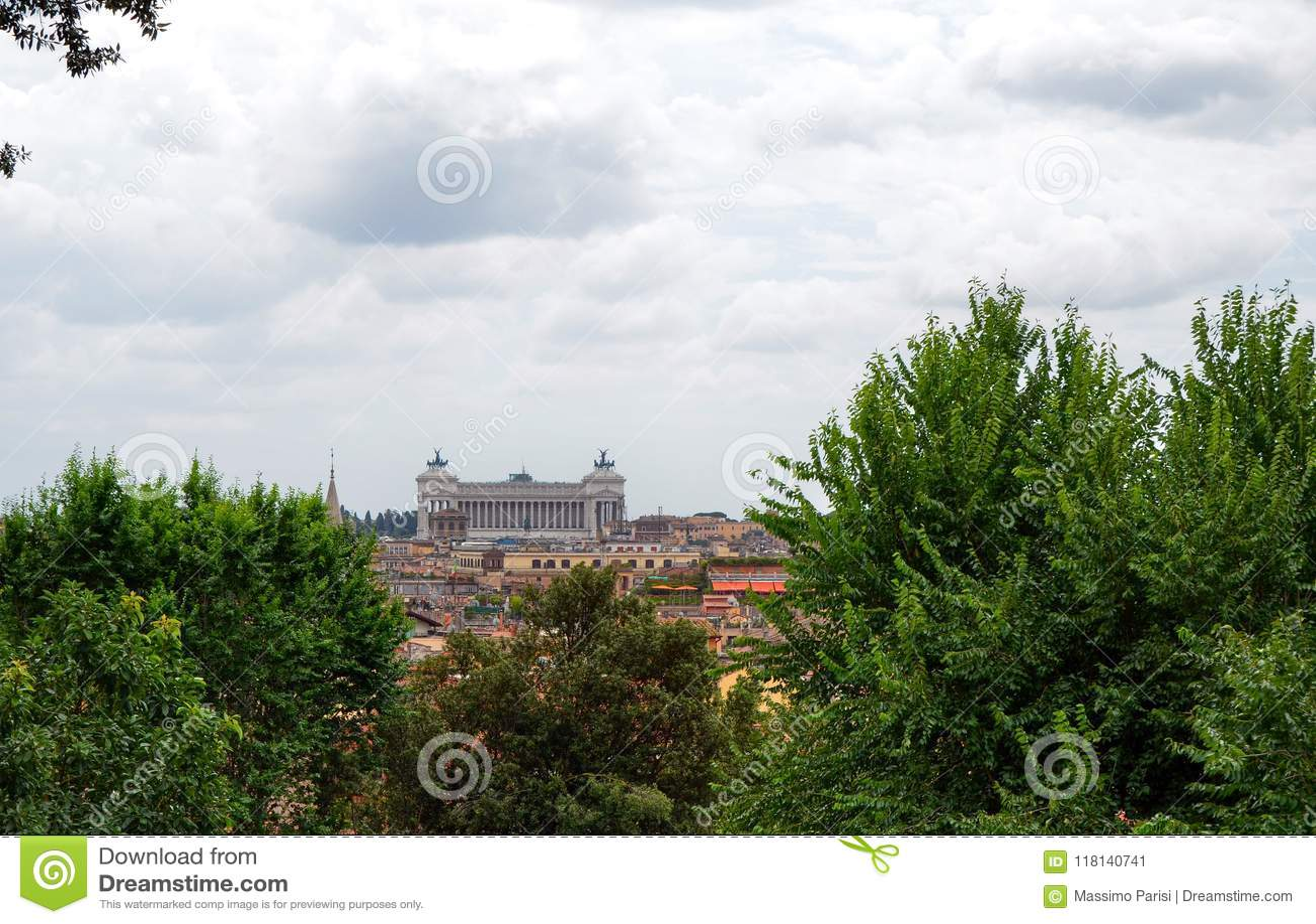 Widok od Pincio punktu widzenia Rzym Pinciano wzgórza lub, Włochy