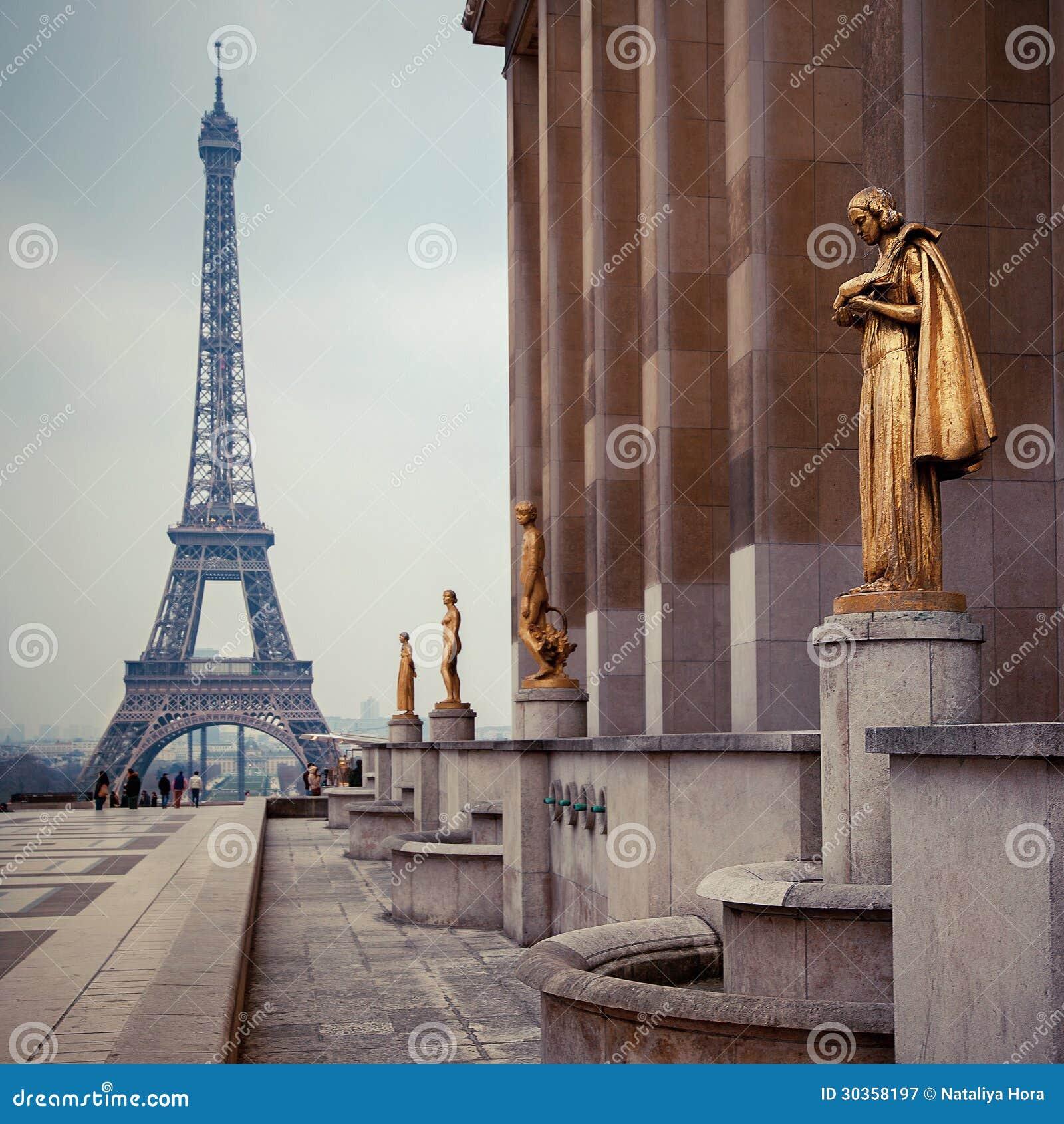 Widok od Trocadero na wieży eifla, Paryż