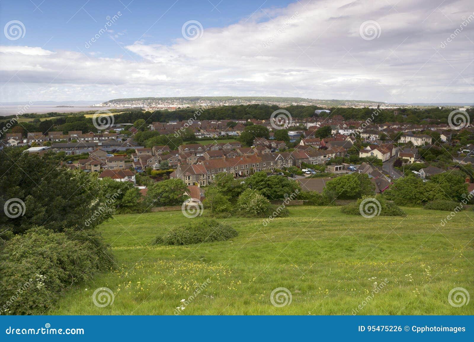 Widok od zbocza Weston Super klacz, Somerset, UK