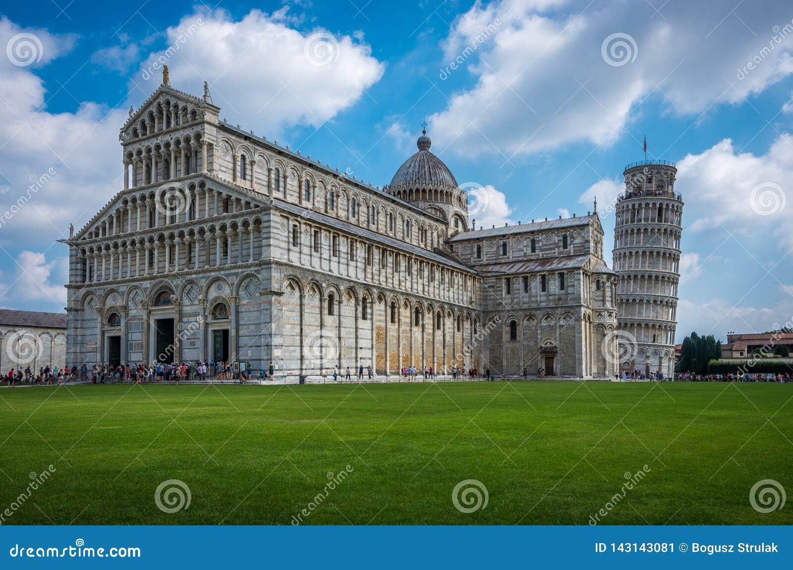 Widok Pisa Katedralny Santa Maria Assunta na kwadracie cudy w Pisa, Tuscany, taly