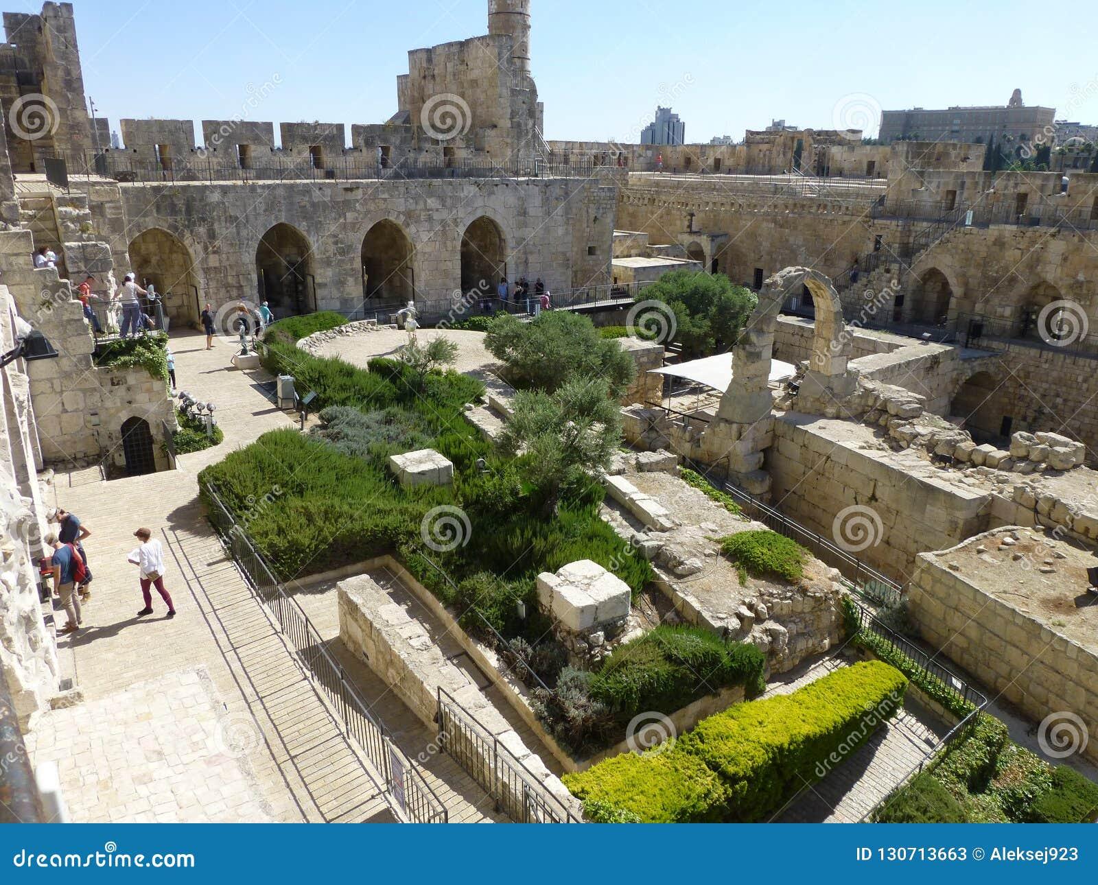 Widok podwórze wierza David w Jerozolima