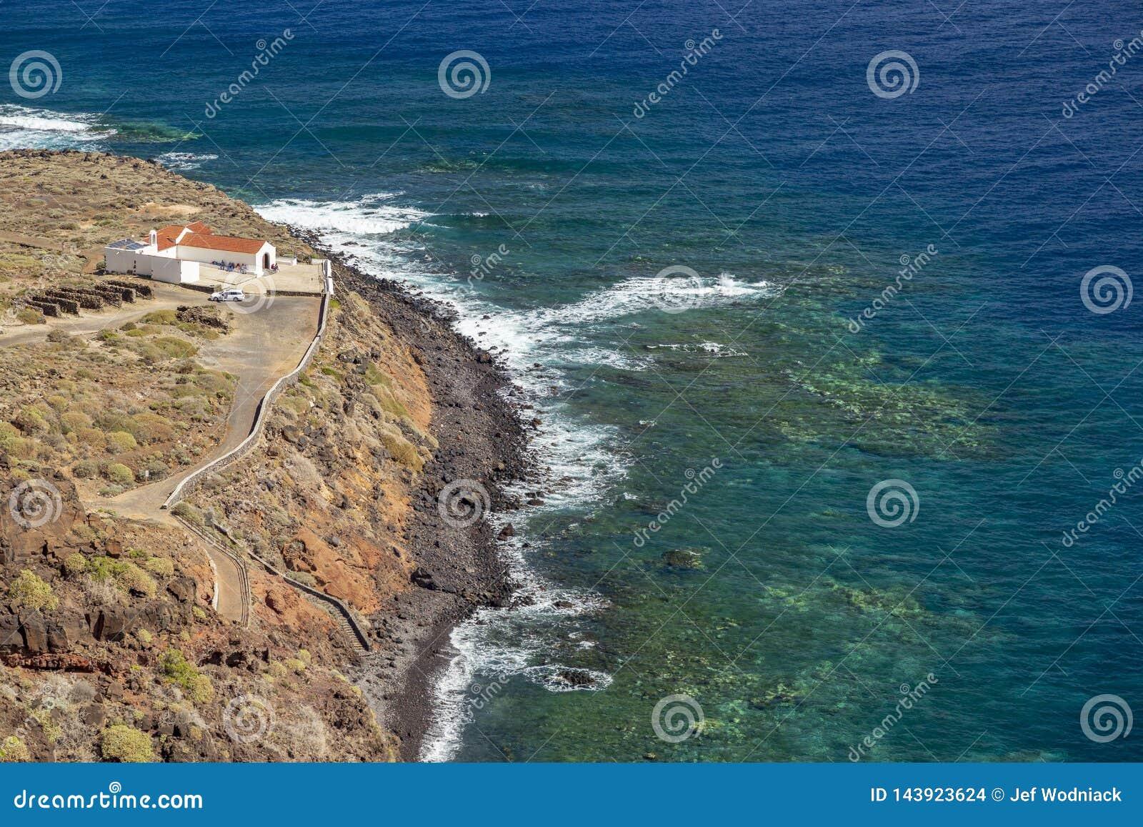 Widok Punta Llana, wyspy kanaryjskie dokąd jest przy losem angeles Gomera Ermita De Nuestra señora de Guadalupe,
