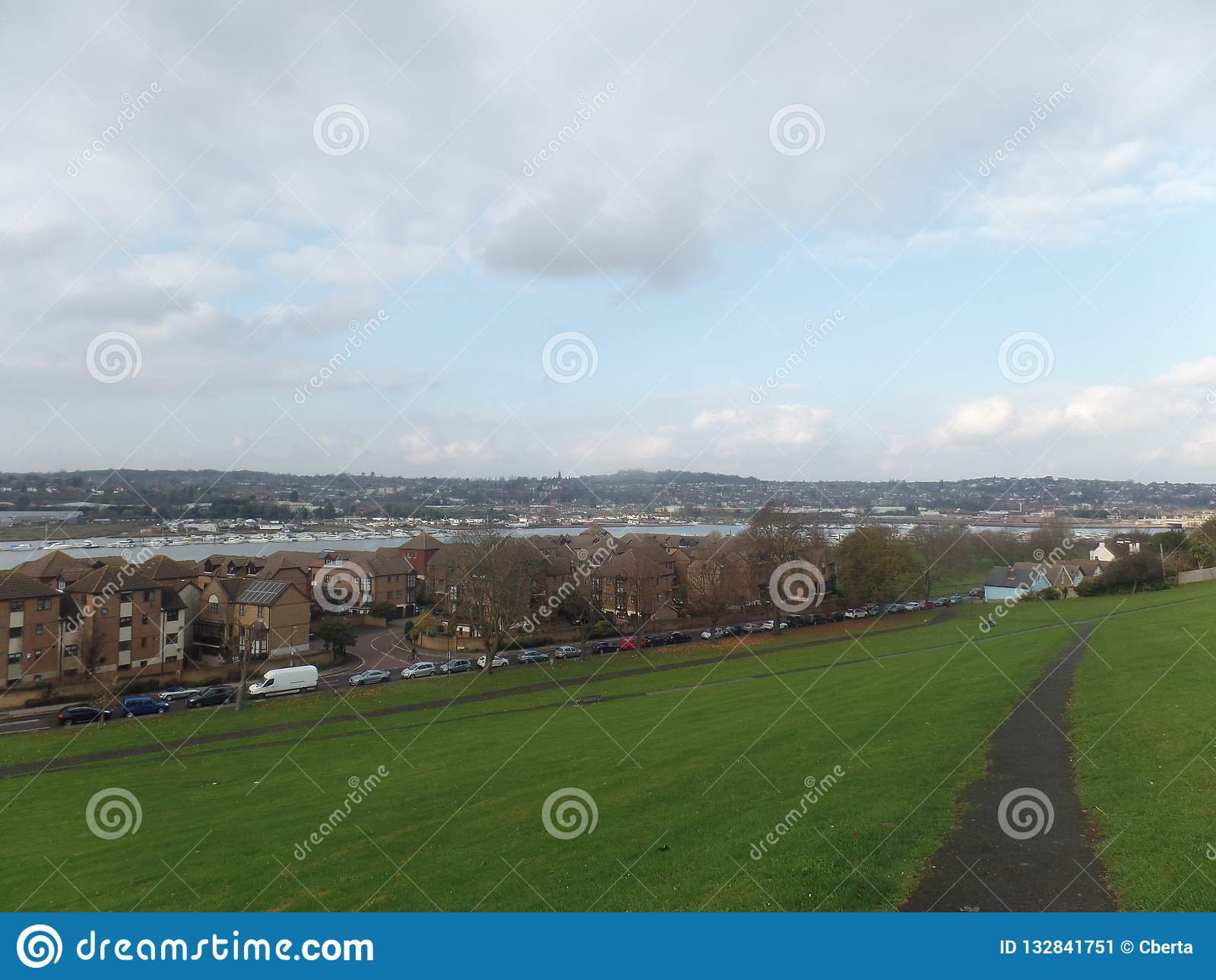 Widok Rzeczny Medway od Churchfields, Rochester, Zjednoczone Królestwo