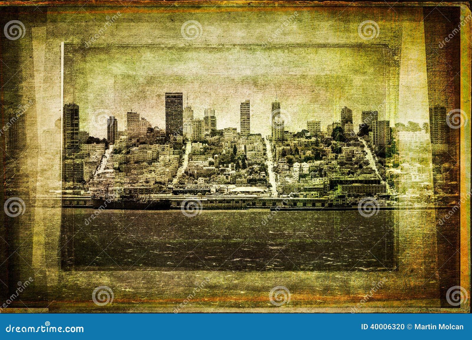 Widok San Fransisco linia horyzontu w roczniku filtrującym textured styl